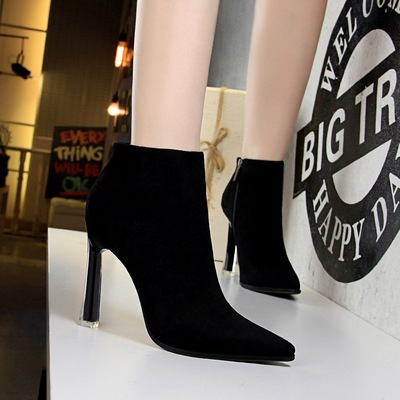 661-2 han edition with suede short boots transparent crystal with ultra-high sexy nightclub show thin pointed contracted