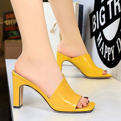 83-3 han edition everyday slippers with contracted fashion hollow out one word is cool thick with high-heeled slippers t