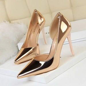 18188-1 the European and American wind high heels with shallow mouth contracted fine with metal with high pointed side h