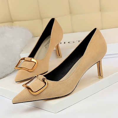 2368-1 han edition fashion show thin female professional OL fine with high heels suede shallow mouth pointed metal belt