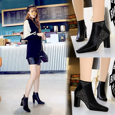 298-5 European and American wind fashion female boots sexy party thick with square head is shining diamond thin high-hee