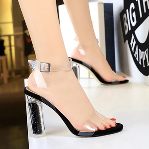 29-8 European and American wind fashion sexy high-heeled shoes with transparent crystal with high nightclub word dewy to
