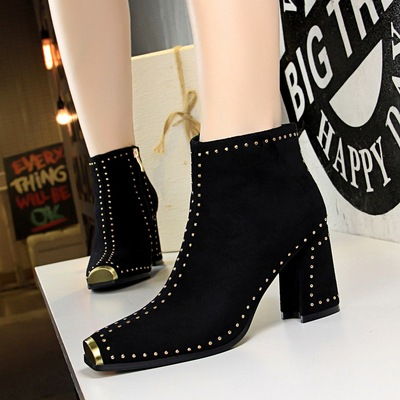 6862 the European and American wind nightclub sexy rock tide restoring ancient ways with suede thick with high metal squ