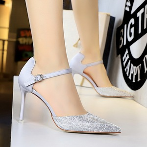 2136-2 the European and American wind sexy nightclub hollow shoes ultra light with pointed mouth mesh hollow out a word