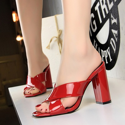 AB3 Europe and the United States in the summer new fashion simple thick with high with paint cross bring the slippers wi