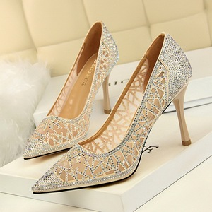 1236-1 Han edition high fashion party with shallow mouth pointed sexy thin mesh hollow out shining diamond women's
