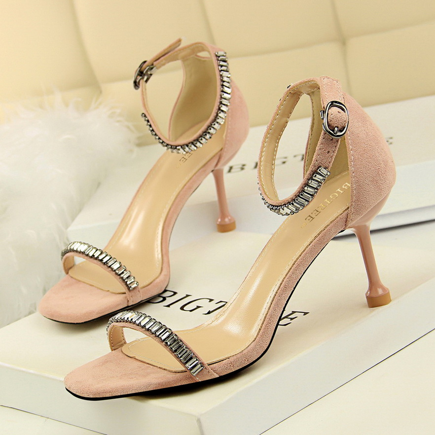 969-1 han edition fashion show thin summer female sexy high-heeled shoes high heel with suede diamond one word with sand