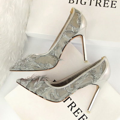 501-1 han edition fashion thin and shallow mouth pointed high-heeled shoes sexy show thin mesh hollow-out maomao shoes f