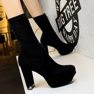 875-2 in Europe and the wind restoring ancient ways fashion female short tube thick with high with waterproof suede sexy