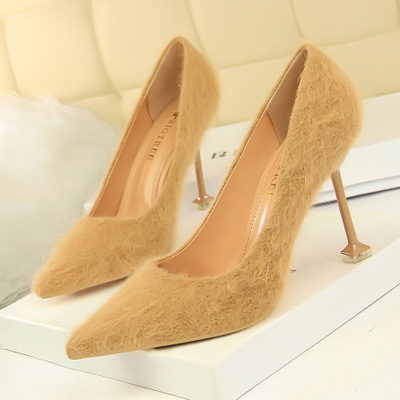 1716-20 han edition fashion show thin sexy high-heeled shoes high heel with shallow mouth party pointed maomao women's s