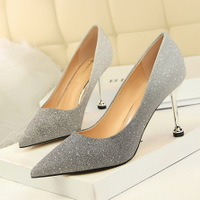 0755-1 han edition style high heel with shallow pointed mouth shining color gradient color matching single shoe heels for women's shoes