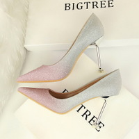 1716-9 han edition style high heel with shallow mouth pointed spell color bright color gradient sexy show thin women's shoes