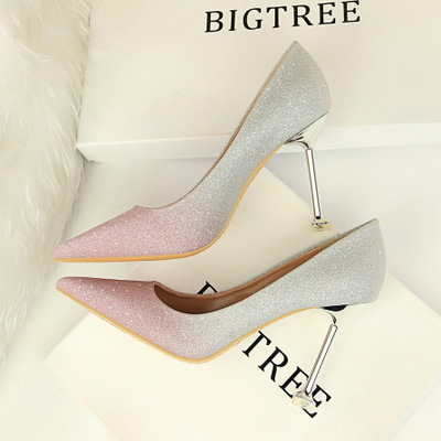 1716-9 han edition style high heel with shallow mouth pointed spell color bright color gradient sexy show thin women&apo