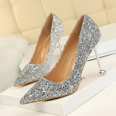 1716-18 European and American wind high-heeled shoes high heel with shallow pointed mouth shining sequins sexy show thin