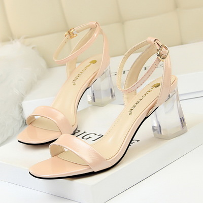 169-6 han edition with summer fashion designer shoes transparent crystal with high dewy toe sandals with a word