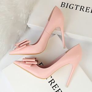 9511-18 han edition fashion high-heeled shoes high heel with delicate sweet mouth thin shallow pointed bow single shoes