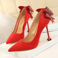 17175-8 han edition sexy nightclubs with ultra fine with suede shallow mouth pointed diamond bow after women's shoes