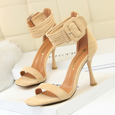 127-8 European and American wind fashion sexy club cup women's shoes with high heels suede leather belt word dewy t