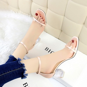 169-2 han edition with thick with cool fashion sexy party shoes transparent crystal with high strappy sandals with a wor