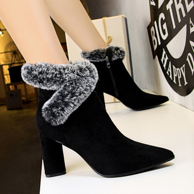 919-3 the European and American fashion female boots winter thick with high with suede sexy nightclub show thin maomao r