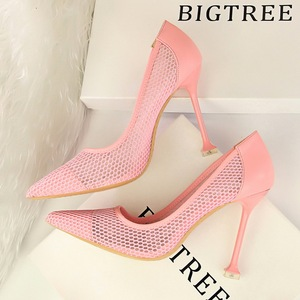 17175-6 European and American wind sexy high-heeled shoes high heel with shallow mouth tines nightclub show thin mesh ho