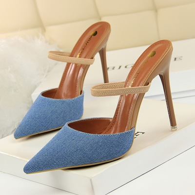 86-6 han edition baotou slippers high heel with sexy thin shallow mouth pointed cowboy cloth cover a word and women slip