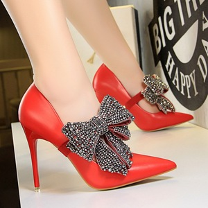 strap shoes with bow of rhinestone