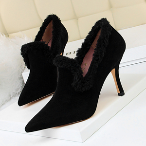 18126-2 han edition style autumn/winter fashion footwear glass with ultra suede pointed maomao deep opening single shoe