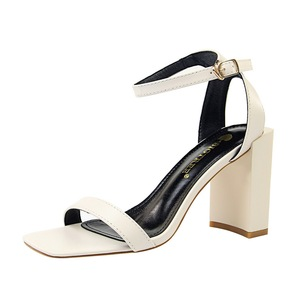 8868-9 han edition contracted shoes summertime joker thick with high-heeled party with square hollow out peep-toe one wo