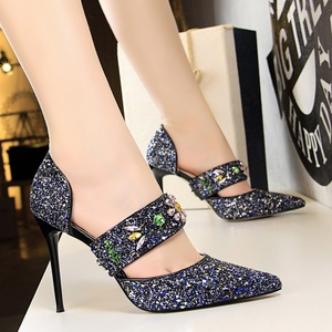 283-22 han edition ultra-high with shallow pointed mouth shining sequins diamond one word with hollow out sandals heels