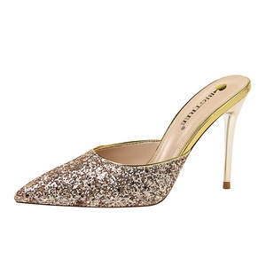 283-12 European and American fashion contracted wind metal with high heel with shallow mouth pointed sequins baotou fema