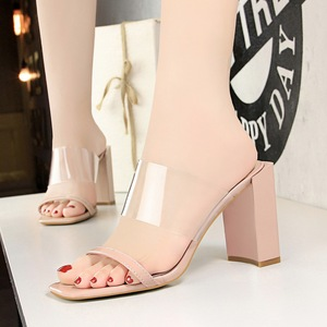 8868-7 han edition fashion summer with square hollow out peep-toe shoes thick with ultra high transparent one word with