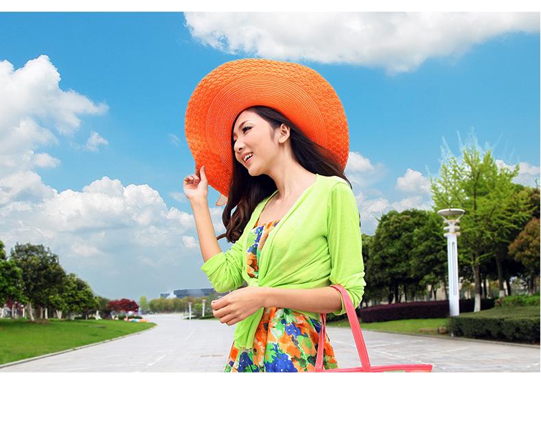 沙滩宠儿 女士夏天韩版草编帽子 沙滩帽大沿帽 遮阳帽 旅游太阳帽