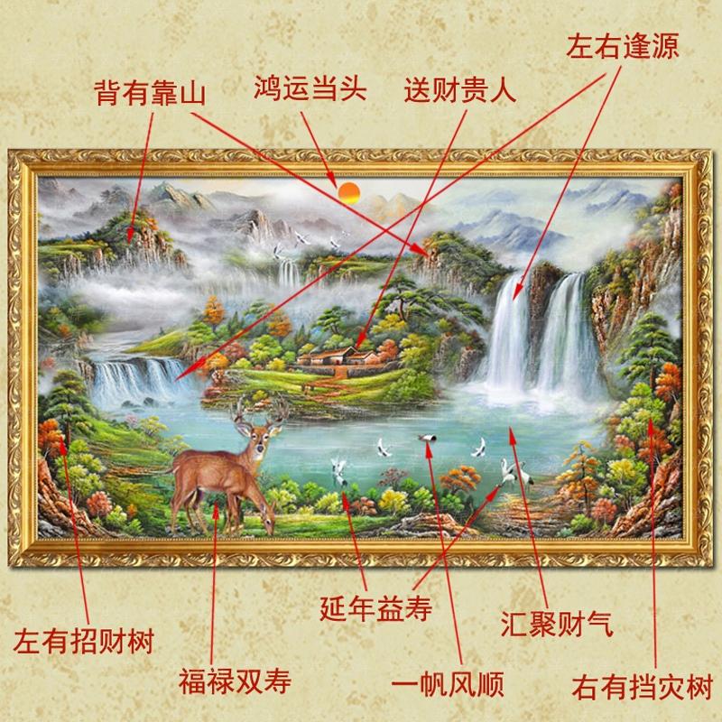 聚宝盆山水风景油画风水玄关手绘中式壁画客厅装饰画现代简约挂画