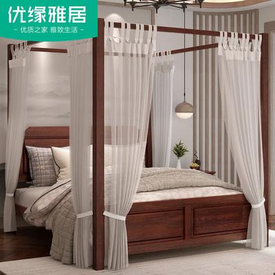 架子床双人简约现代四柱仿古新中式架子床实木拔步床八步床