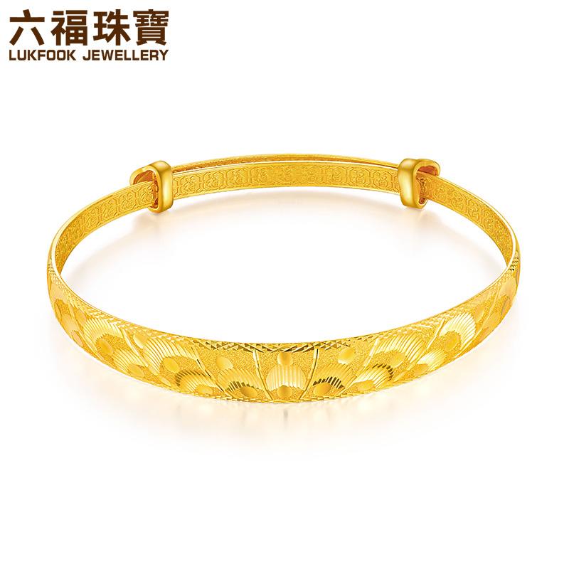 六福珠宝凤凰羽翼黄金手镯足金手镯女款婚嫁送礼计价L35TBGB0001