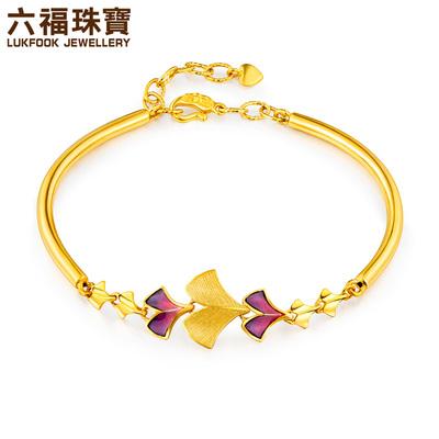 六福珠宝银杏叶渐变珐琅黄金手镯含延长链女款计价GDG10089