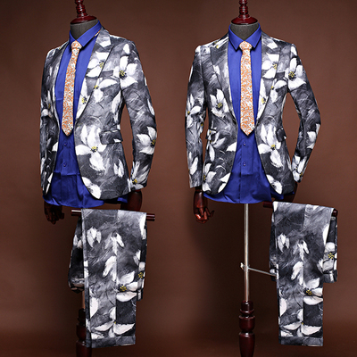 Studio Theme Clothing Men's Suit Jacquard Print Suit Two-piece Wedding Photography Photographs Men's Wear