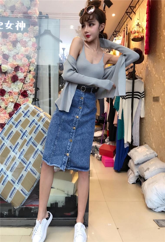 (实拍)9503#针织吊带 外套 牛仔半身裙送皮带 三件套
