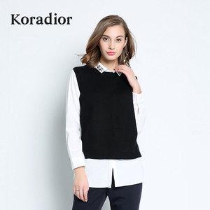 Koradior/珂莱蒂尔正品秋季女装百搭修身羊毛针织衫背心5F02030