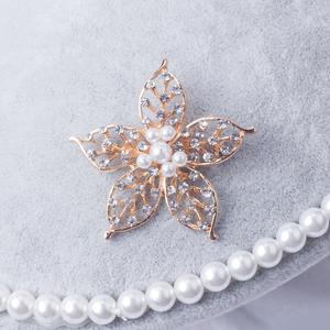 81205#韩版时尚镶钻珍珠花朵五角星胸针优雅百搭气质跨境热...