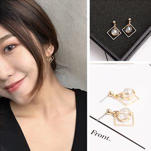 6327#韩版小饰品几何型方形新款时尚简约耳环镂空透明珠耳钉