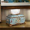 美式创意客厅纸巾盒摆件欧式复古家用样板房茶几纸抽盒艺术装饰品