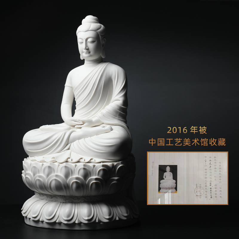 Yutang dai sakyamuni Buddha jian - pin Lin manually signed the Chinese art museum collection ceramic Buddha furnishing articles