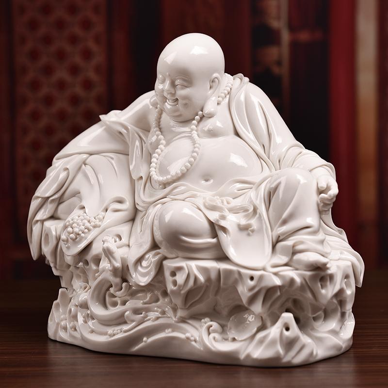 Yutang dai dehua white porcelain pot - bellied laughing Buddha maitreya Buddha furnishing articles play dragon porcelain carving art crafts household