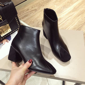 category/Shoes/women Rivets PU Leather Booties Buckle Straps Thick Heel Bla...