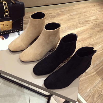 Thick with suede color matching short boots for women shoes