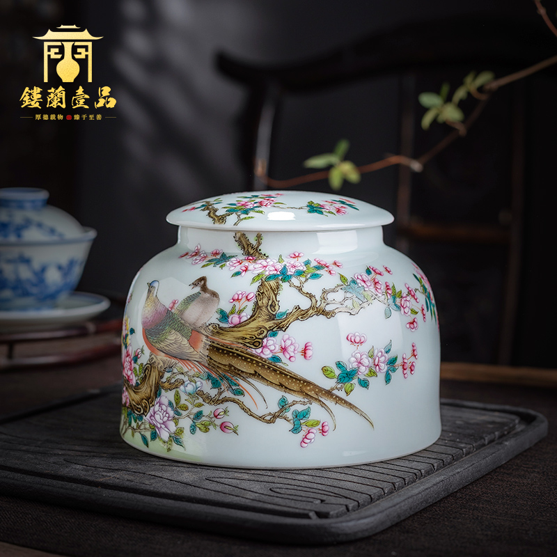 Jingdezhen ceramics all hand - made pastel notes tong furnishing articles prosperous home decoration craft tea caddy fixings storehouse