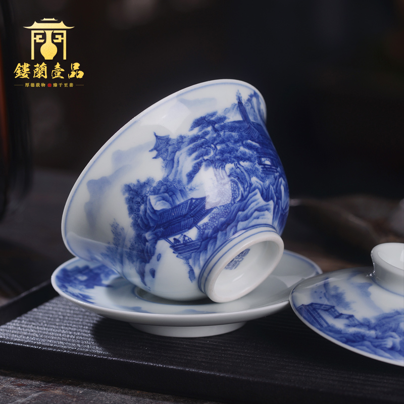 Arborist benevolence blue pavilions three only tureen jingdezhen ceramic hand - made kung fu tea bowl with cover a single