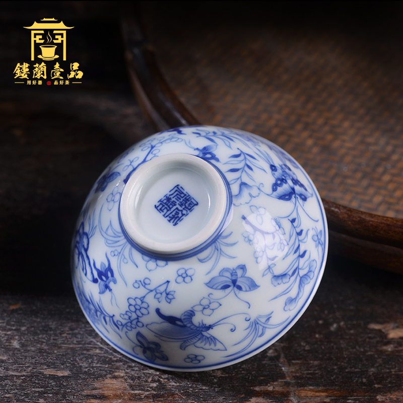 All benevolence blue and white recent master cup of jingdezhen ceramic art family hand - made single CPU kung fu tea set personal tea cup